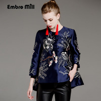 Women Tops Autumn Royal Embroidered Vintage Floral Short Coat High End 3 4 Sleeve Lady Casual