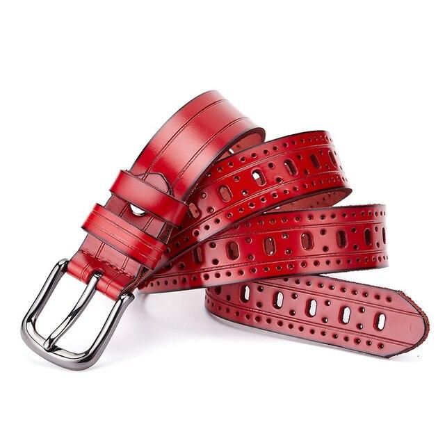 Красный Дизайнеры Роскошные Выдалбливают Женский Ремень Марка Натуральная Кожа Платье Ремни для Женщин Высокого Качества Коускин для Джинсы Брюки