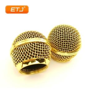 Image 5 - 2pcs מיקרופון כדור רשת סורג Beta58 SM 58 מיקרופון אביזרי כדור ראש החלפת אבזר אלקטרוליטי זהב צבע