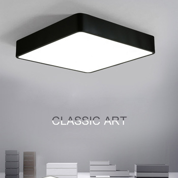 Modern Square Led Ceiling Light Acrylic White Black Surface