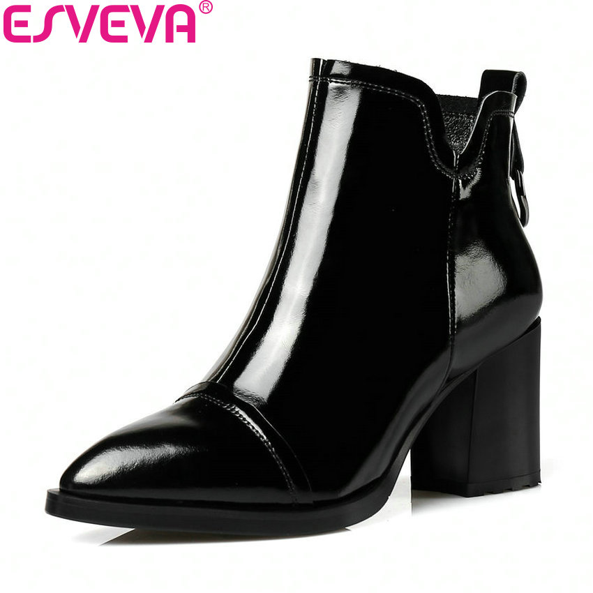 ESVEVA 2018 Women Boots Western Style Autumn Spring Square High Heels Ankle Boots Pointed Toe Zipper PU Ladies Boots Size 34-42 nemaone 2018 women ankle boots square high heel pointed toe zipper fashion all match spring and autumn ladies boots