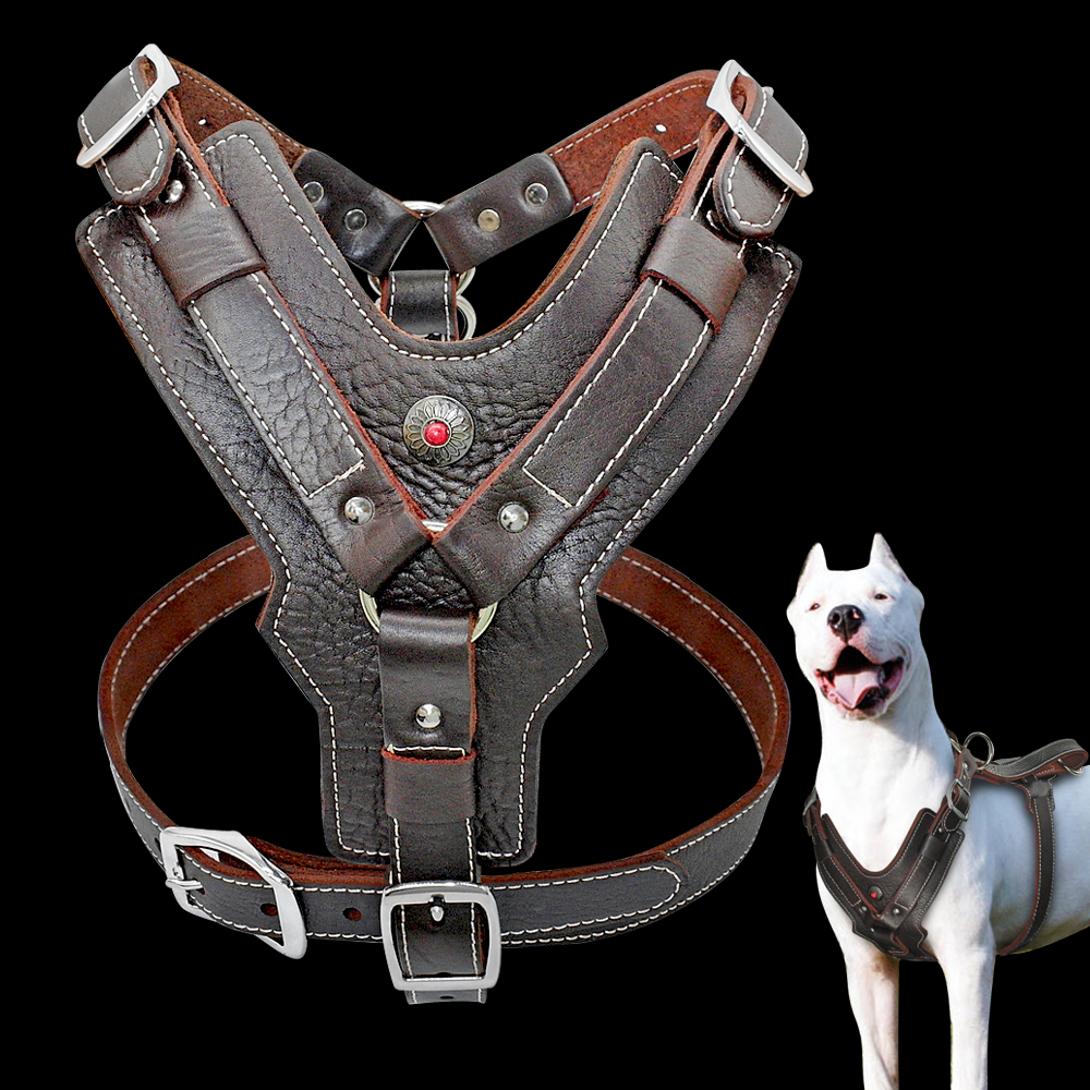 Genuine Leather Dog Harness for Large Dogs Pet Training Vest With Quick Control Handle Adjustable For