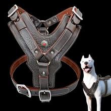 עור אמיתי כלב רתם עבור גדול כלבי אימון אפוד עם מהיר בקרת ידית מתכוונן עבור לברדור Pitbull K9