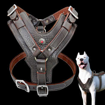 Genuine Leather Dog Harness for Large Dogs Pet Training Vest With Quick Control Handle Adjustable For Labrador Pitbull K9 - DISCOUNT ITEM  15% OFF All Category