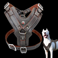 Genuine Leather Dog Harness for Large Dogs Pet Training Vest With Quick Control Handle Adjustable For Labrador Pitbull K9