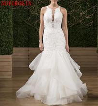 Белые свадебные платья с рюшами кружевные аппликацией из бисера