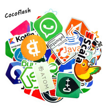 50Pcs/lot Internet Java JS Php Html Cloud Docker Bitcoin Programming Language APP Logo Cool Stickers for Laptop Car DIY Stickers js easy php page 4