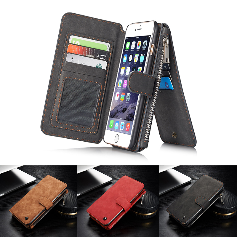 6S/6 Plus/6S Plus Luxury Genuine Leather Multi Functional Stand Wallet Cover Bag For Apple iPhone6S/S Plus With Card Slot Caseme