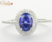 Solid 14K White Gold Natural Diamond Flawless AAA Tanzanite Engagement Ring