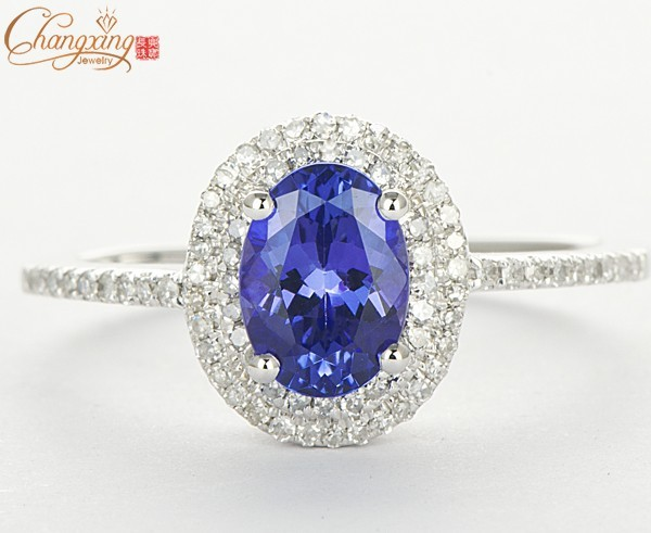 Gemstone Jewelry Solid 14K White Gold Natural Diamond Flawless AAA Tanzanite Engagement Ring  Free Shipping