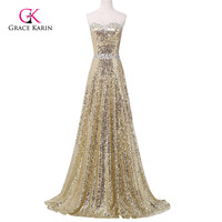 Luxury Evening Dress 2016 Grace Karin Women Sequins Gold Golden Sweetheart Dubai Long Formal Evening Gowns