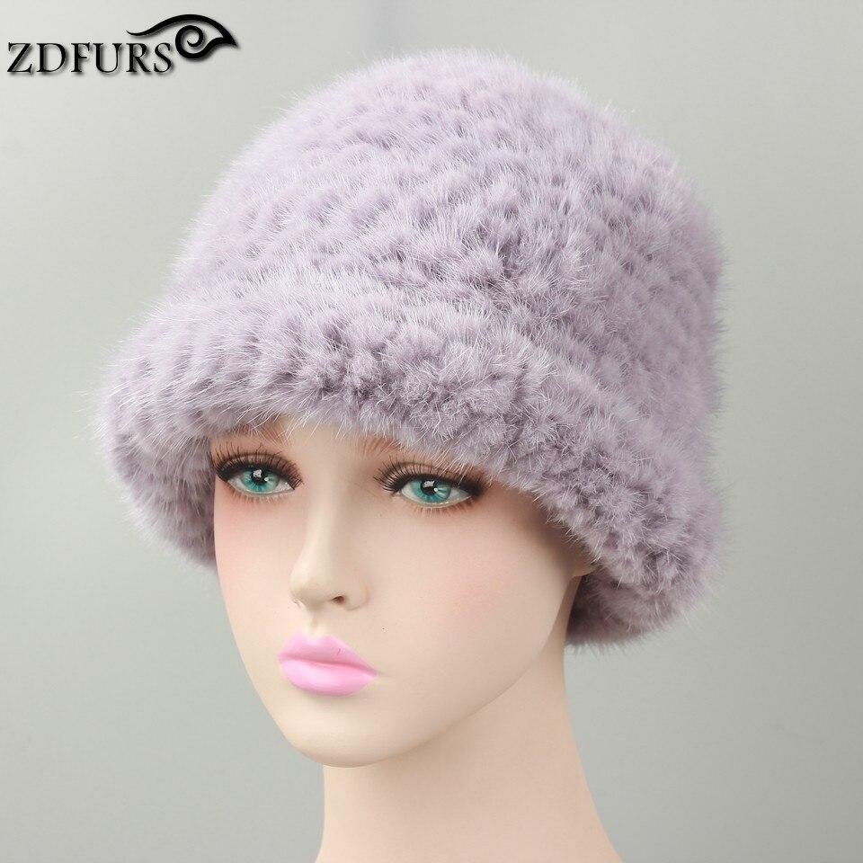 Glaforny hiver vison fourrure chapeau femmes tricoté fourrure bonnets classique et Simple casquette Super chaud fourrure Bonnie chapeaux 6 couleurs