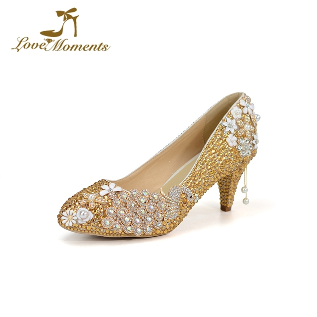 2 Inches Middle Heel Women Spring Shoes Gold Rhinestone Wedding Shoes with  Peacock Unique Design Sparkling Bride Dancing Shoes 37788aff4809