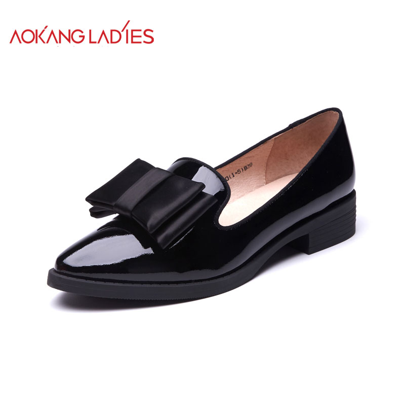 AOKANG 2017 New Arrival Women Flats shoes Brand Women shoes Women Genuine Leather shoes Fashion aokang 2017 new arrival women flat genuine leather shoes red pink white women shoes breathable and soft free shipping