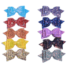 "120PCS 13CM 5"" Big High Quality Boutique Glitter Synthetic Leather Hair Bows For Hairpins Glitter Bowknot Bow For Girl Women"