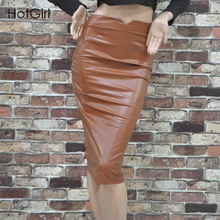 Sexy Maxi PU Leather Faux High Waist stetch Pencil skirt for Shemales & Crossdresser