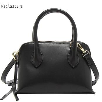 Women Solid Leather Handbags New Women Tote Bag Ladies Handbags Shoulder Bag for Women 2018 Luxury Messenger Bag Bolsas Black