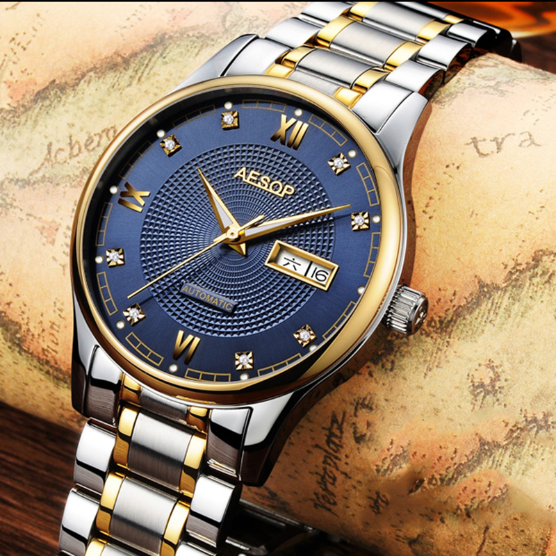 Luxury AESOP watch men sapphire glass silver stainless steel waterproof automatic machine wristwatch relogio masculine