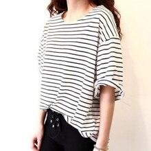 2017 Summer Short Sleeve Women Loose Stripe T Shirt Casual Cotton Tops Women T-shirt M-XXL P2