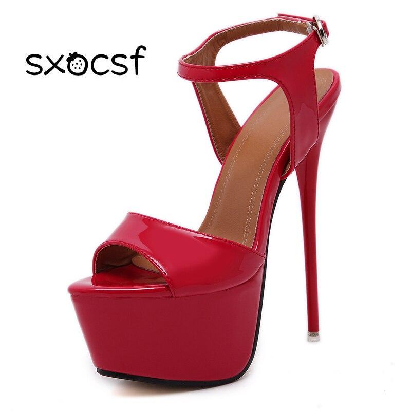 Naujosios stiliaus seksualinės sagtys moterims super aukšti kulniukai ponios mados nukreipta kojų platforma ploni kulniukai sandalai stilettos vestuvių vakarėlis