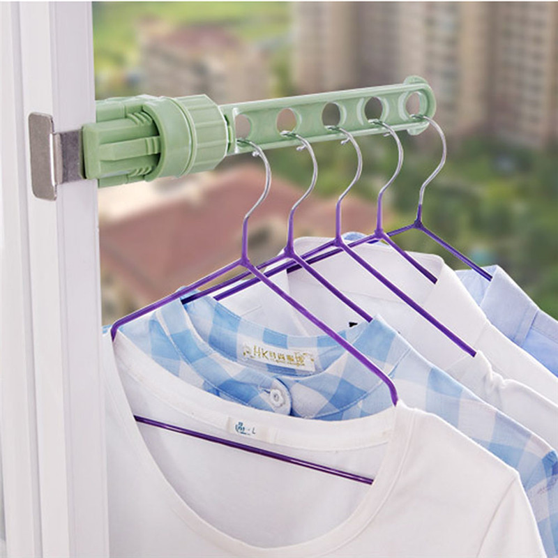 foldable window hanger clothes hanger rack hanging clothes rod wardrobe portable space saver. Black Bedroom Furniture Sets. Home Design Ideas