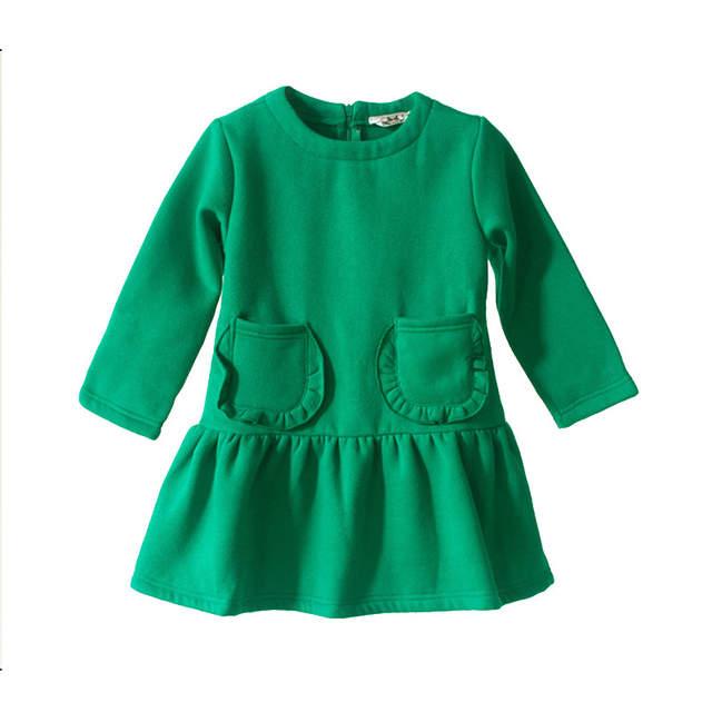 2d5508feb86a0 Brand 2019 New Autumn Winter Girls Dress Baby Children Thickened Dress Plus  Velvet Baby Cute Dress Toddler Cotton Clothes,#3705