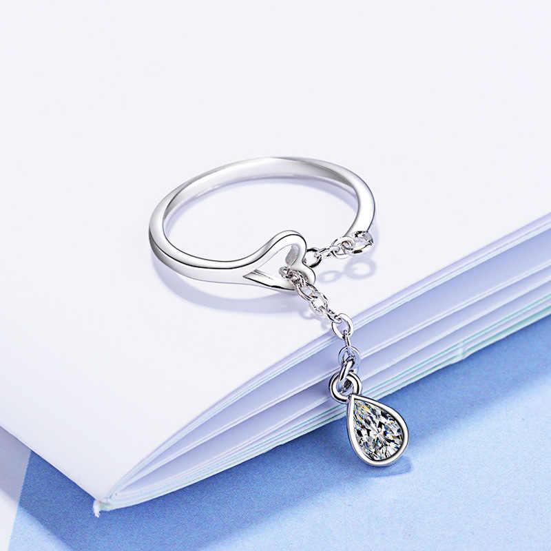 925 เงินสเตอร์ลิงที่มีคุณภาพสูงหรูหราผู้หญิง Drop แหวนคริสตัลหญิงรุ่นเจ้าหญิงหมั้นแหวนเครื่องประดับของขวัญ