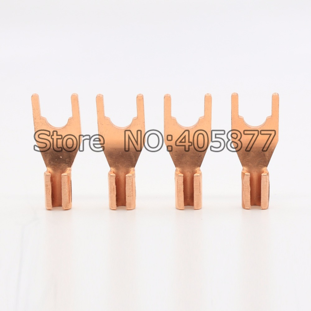 8PCS Pure Red Copper Rhodium Plated Spade Fork plug Speaker Cable Connector