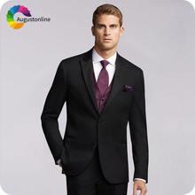 Формальные Деловые черные мужские костюмы с острыми лацканами
