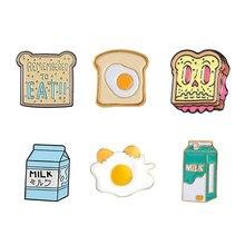 Perfect Ontbijt Emaille Pin Leuke Cartoon Toast Brood Plakjes Melk Ei Broches Denim Jas Pin Shirt Reversspeldjes Gift Voor vrienden
