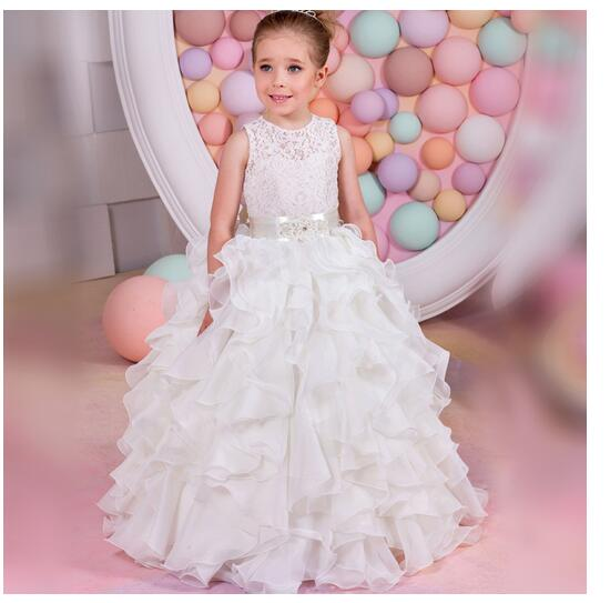 Girl's Formal Dress 2017 Flower Girls Princess Dresses Kids Long Lace Tiered Party Birthday Ball Gowns Children's Wedding Dress girls long formal dress 2017 flower girls princess dresses kids lace vintage evening party ball gown children s wedding dress