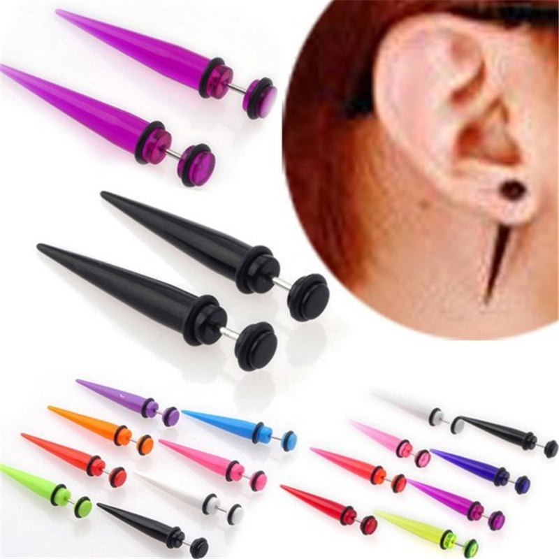 1pair UV Acrylic <font><b>Fake</b></font> <font><b>Ear</b></font> Stretcher Earring Taper Spike Cheater Expander Earing Fashion Body Jewelry image