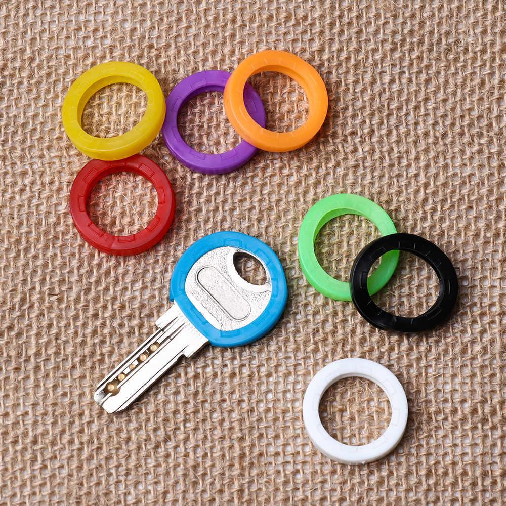 8 pc/set cores aleatórias oco silicone tampa chave cobre topper chave titular chaveiro anéis caso chave saco organizador carteiras
