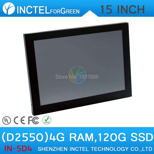 """LED 2mm 2*RS232 15"""" Intel Atom D2550 Dual Core 1.86Ghz Touchscreen PC with 4G RAM 120G SSD"""