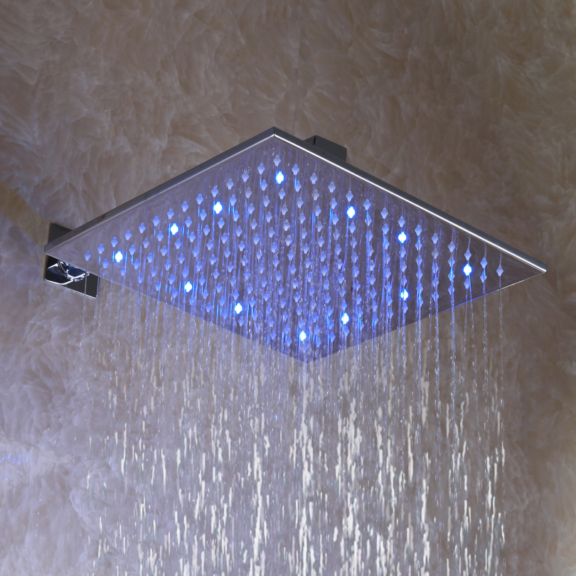 Top Shower With 3 Color(Green Blue Red)! 12 Inch, Square Chrome Overhead LED Rainfall Shower Head L-012