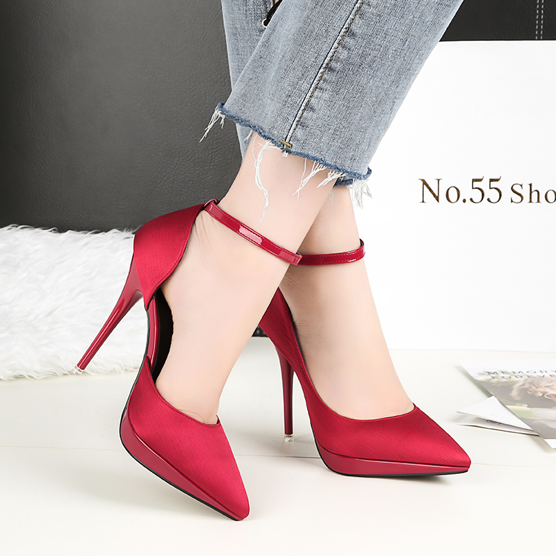 2018 Summer Women 12cm Thin Extreme High Heels Satin Silk Pumps Female Elegant Sweet Heels Shoes Scarpins Buckle Cheap Shoes 18