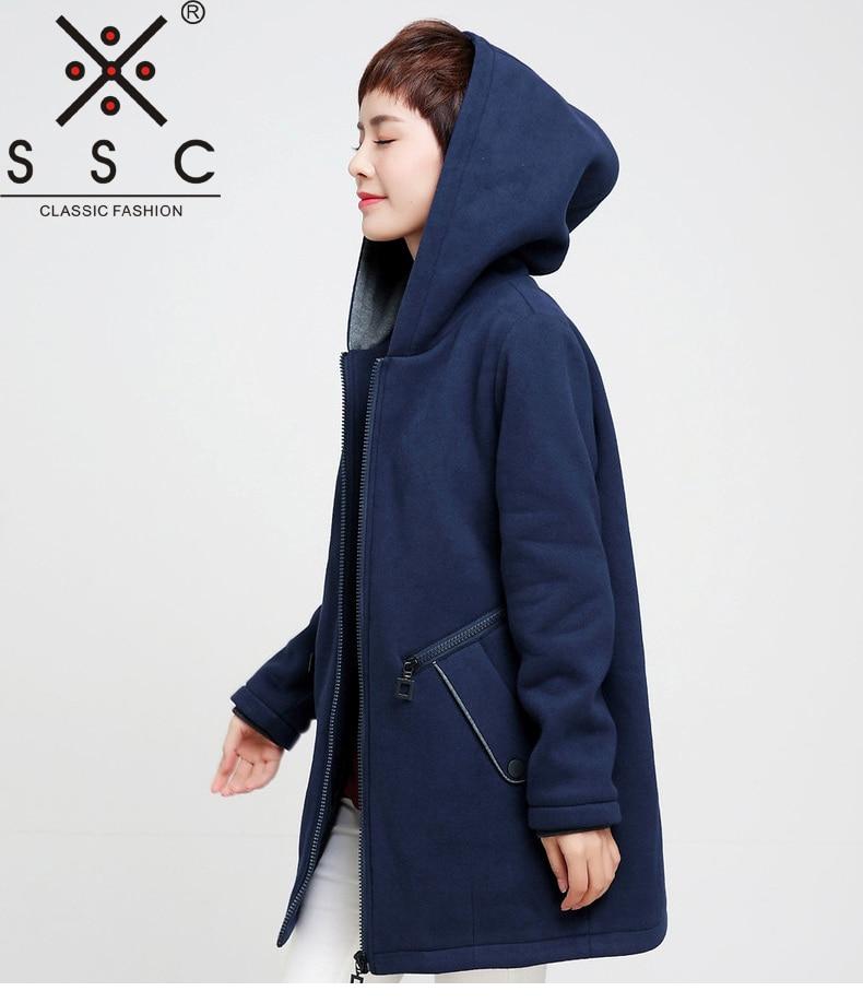 SSC Knitting Hooded Womens Winter Coat Elasticity Leisure Long Plus Sizes Jacket Coat Loose Fleece Warm 4XL Autumn Jackets 698