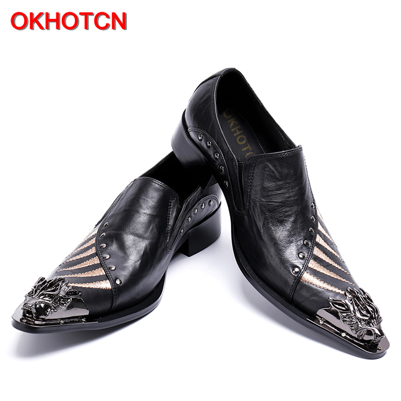 New Genuíno Masculinos Apontado Sapatos Padrão Arrival Couro Joint Rebites Calçados Toe Okhotcn Dos Homens Sólidos De Mental Zebra Personalizado dWTFqn