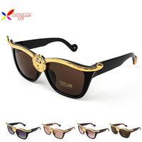 Top Fashion Vintage Deisgner Men Brand Gold Lion Head Cat Eye Sunglasses Women Shade Oculos De Sol Feminino 2017 Gafas
