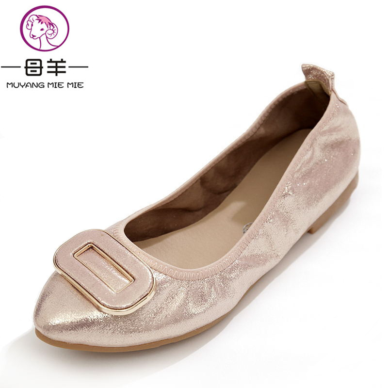MUYANG MIE MIE Plus Size (34-43) Women flats Female Pointed Toe Soft Outsole Single Flat Shoes Woman Work Shoes Women Shoes muyang mie mie plus size 35 42 women rhinestone soft shoes woman genuine leather single flat shoes casual loafers women flats