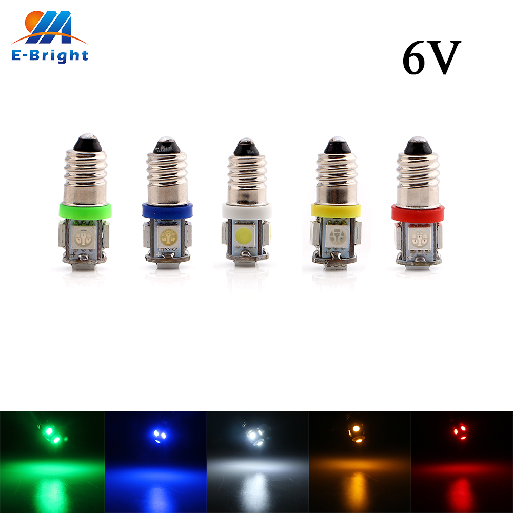 2pcs 6V 6.3V DC E10 5050 5 SMD LED Light Bulb Pinball CE Customized Styling White Blue Red Amber Green Auto Indicator Bulbs image