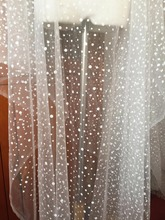 5 Yards Glitter Polka Dotted Off White Tulle Mesh Lace Fabric for Bridal Veil Cape Shrug  Accessories Wedding Gown Lining