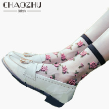 CHAOZHU 2019 Women Kawai Floral Jacquard Summer Thin Crystal Sheer Socks Transparent Sweet Pink Rose Lady Ponczochy New