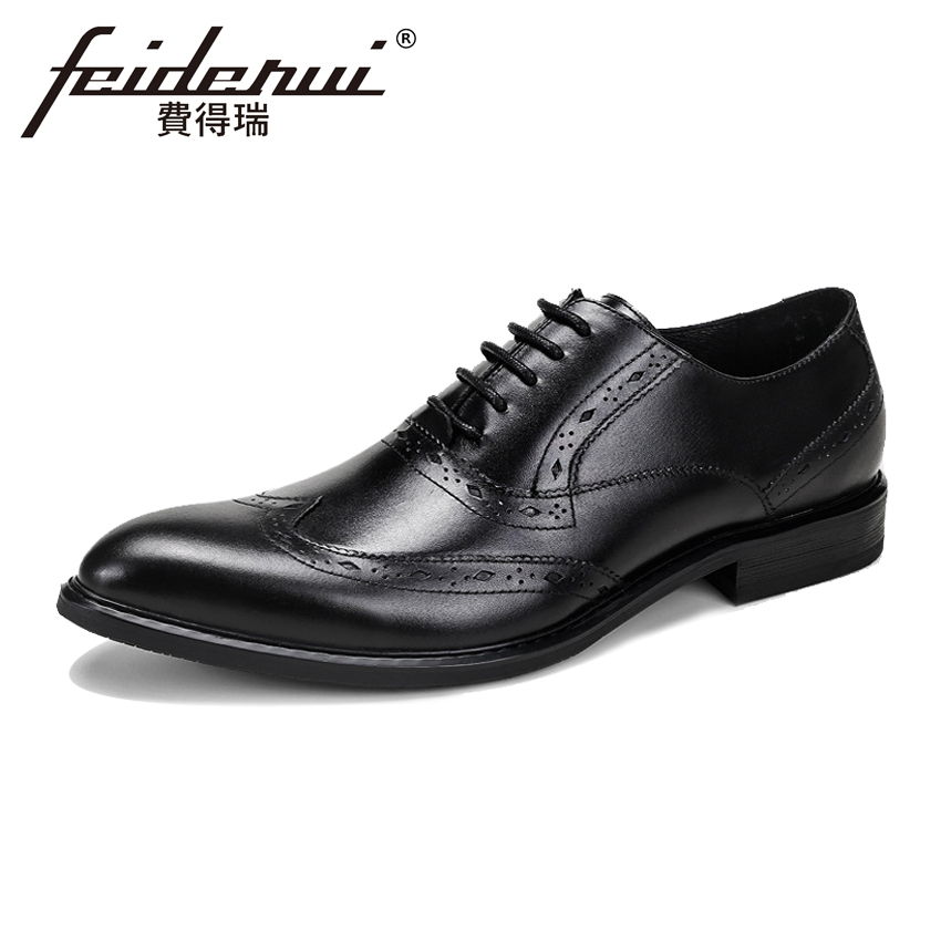 Luxury Formal Dress Genuine Leather Mens Oxfords Round Toe Handmade Male Party Flats British Style Brogue Shoes For Man ASD73