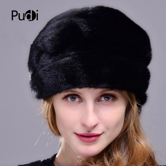 HM020 Winter hats for women  Real genuine mink  fur hat  women's winter hats whole piece mink fur hats 4