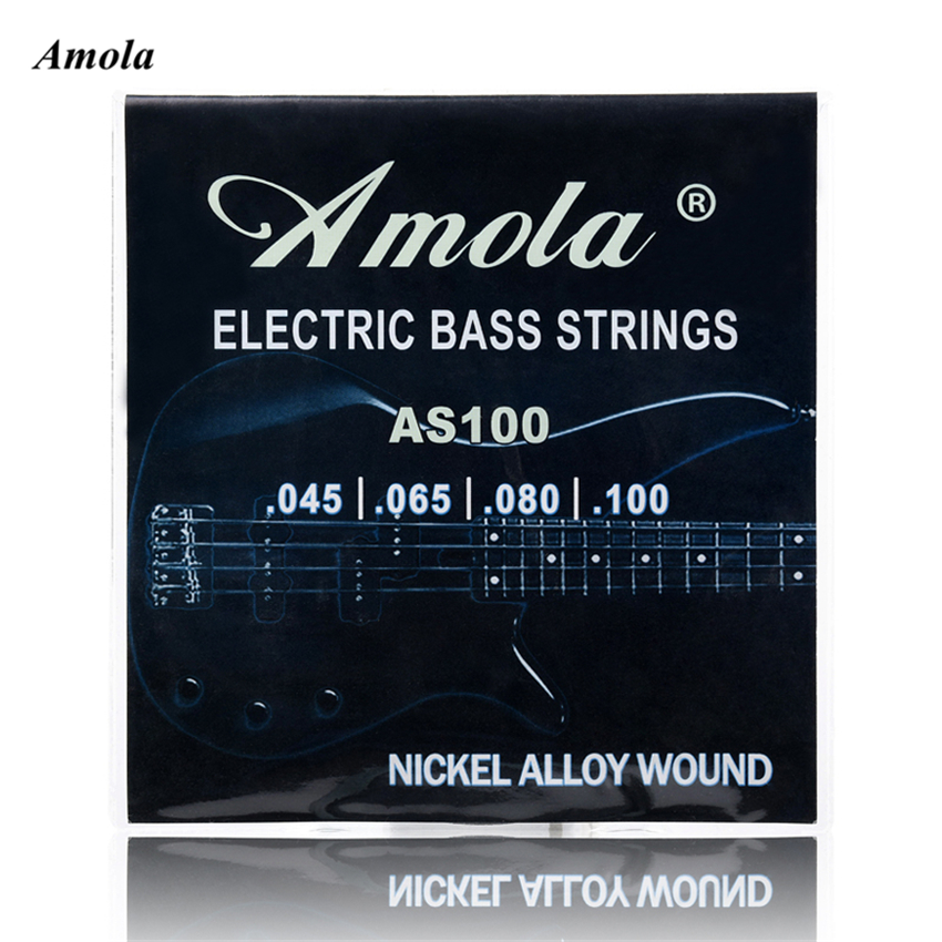 Amola  Electric Bass Strings set 045 Nickel Alloy Wound Steel Stings 045 -100 Bass Strings 4strings/set AS100 rotosound rs66lc bass strings stainless steel