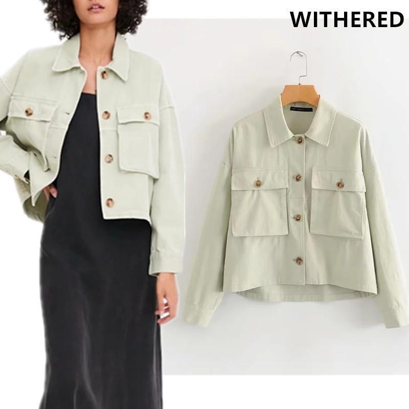 Женская короткая куртка карго с большими карманами, однотонная уличная куртка большого размера, 2019|Базовые куртки| | - AliExpress