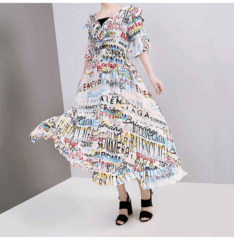 New High Quality Summer Sun Dress Flare Sleeve Letter Printing Maxi Long Female Beach Dresses midi dress vestido de fiesta
