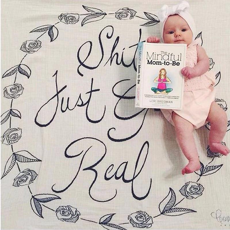 Baby Deken Polyester Katoen Brief Baby Dekens Pasgeboren Beddengoed - Beddegoed - Foto 3