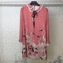 100% Silk Women Dress Casual Femme Vestidos Ruffles Long Sleeve Pink Printed Elegant